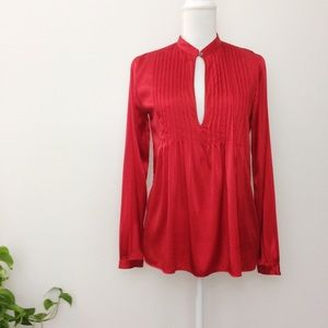 Theory Red Silk Bianca Keyhole Pleated Blouse
